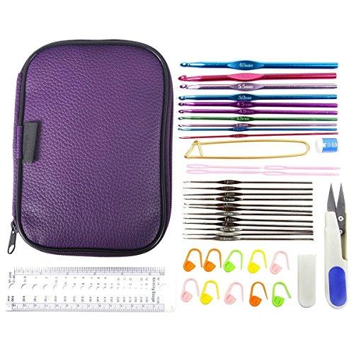 Mixed Aluminum Handle Crochet Hook Knitting Knit Needle Weave Yarn Set Full Kit,Crocheting Kits with PU Case (Crocheting Kit)