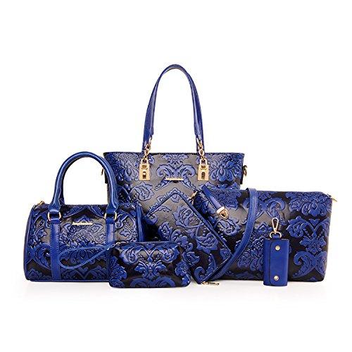 pezzi 6 Donna crema Goffratura vintage mano set fiori Scuro Borse Blu Bianco di Coolives a pqxwz8vfv