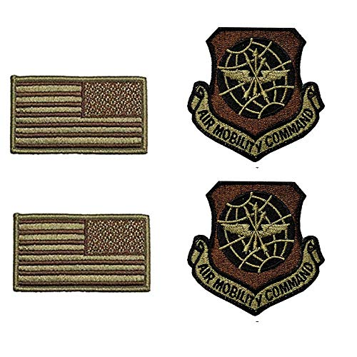 US Air Force Air Mobility Command OCP Spice Brown Patch and Flag Bundle