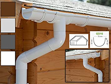 Ideal for summer house or log cabin! | GD16 All-in-one kit up to 5,25 m, White in 4 colours Plastic guttering kit for gabled roof 2 roofsides