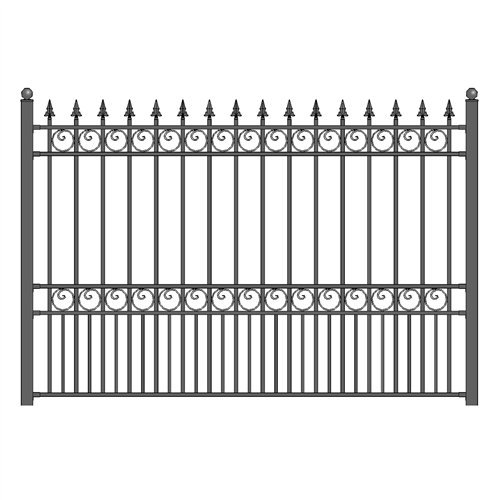 ALEKO FENCELONDIY5X5.5 London Style DIY Galvanized Steel Fence Ornamental Security 5.5 x 5 Feet Black