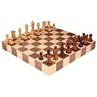 Athena Tournament Chess Inlaid Wood Board Game with High Quality Weighted Wooden Pieces - 18 Inch Set