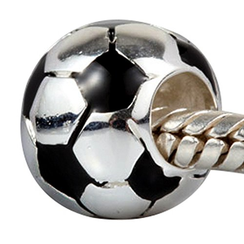 Soccer Football Charm with Black White Enamel Charm Sport Bead Fit DIY Charms Bracelets
