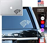 """Game Of Thrones House Of Stark Series HBO Vinyl Decal Sticker - Car Window, Laptop Skin, Wall, Mac (5.5"""" inches, White)"""