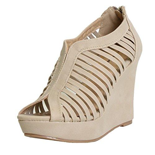 Heel Gladiator Sandals (Top Moda Womens Denver-1 Gladiator Wedge Heel Sandals,Beige,8.5)