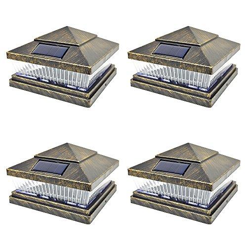 iGlow 4 Pack Vintage Bronze Garden 6 x 6 Solar SMD LED Post Deck Cap Square Fence Light Landscape PVC Vinyl Wood Bronze