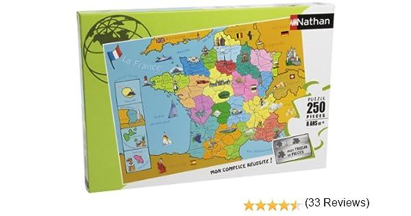 Nathan 86933- Puzzle Infantil del Mapa de Francia (250 Piezas): Amazon.es: Juguetes y juegos