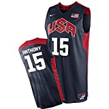 2012 USA Basketball National Team #15 Carmelo Anthony Blue Jersey Large