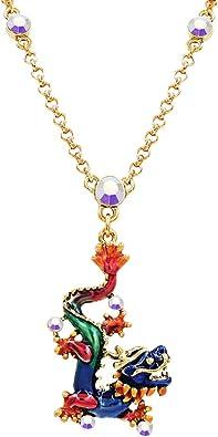 Silver Teardrop Necklace Tribal Red Dragon