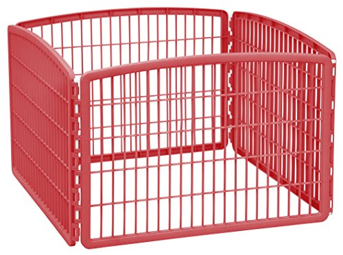 IRIS 24'' Exercise 4-Panel Pet Playpen without Door, Red