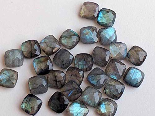 8mm Natural Labradorite Faceted Cut Cushion 100 Pieces Lot Top Quality Loose Gemstone