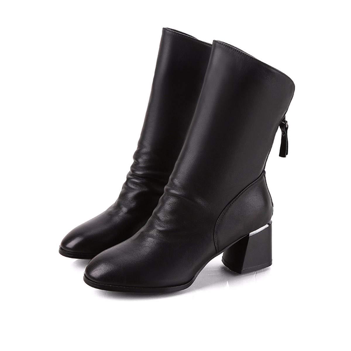 HBDLH Damenschuhe Mode - Stiefel Mit Hohen 6 cm Runden Kopf Mittlere U - Stiefel Wasserdichte Plattform Dicke Sohle Ma Dingxue.