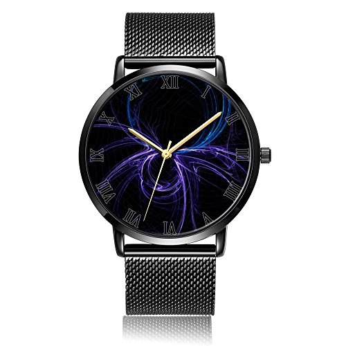 Whiterbunny Customized Spider Line Wrist Watch Unisex Analog Quartz Fashion Black Steel Strip/Black Dial Plate for Women and Men