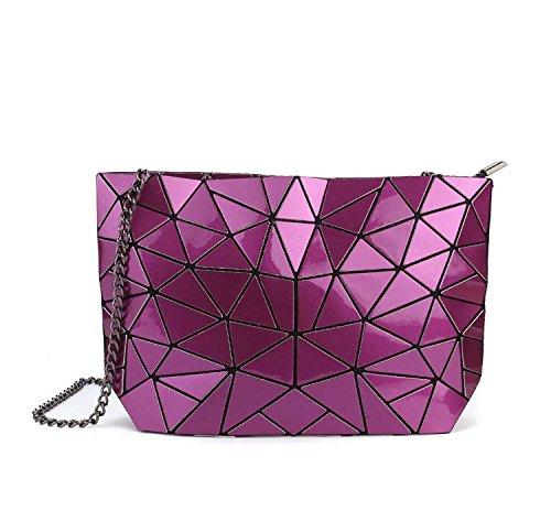 Bolso Geométrica De Xiekua De Meoaeo Violet Cadena De Hombro Plateado Paquete Moda Bolsa Cuero xzHznaq5Pw