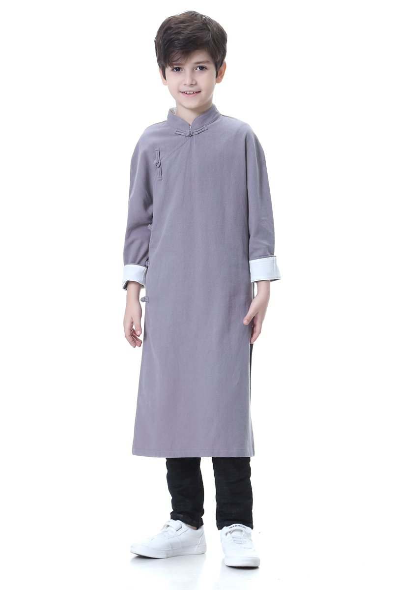 Bitablue Boys Cotton/linen Chinese Traditional Long Gown (Grey, 8)