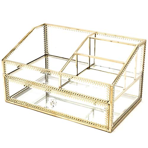 Metal Glass Large Accent Glass with Gold Trim Decorative Cabinet Decorative Keepsake Box/Mirror Clear Drawer Storage/Vintage Jewelry Organizer for Bathroom/Countertop - Antique Vanity Style Handcrafted