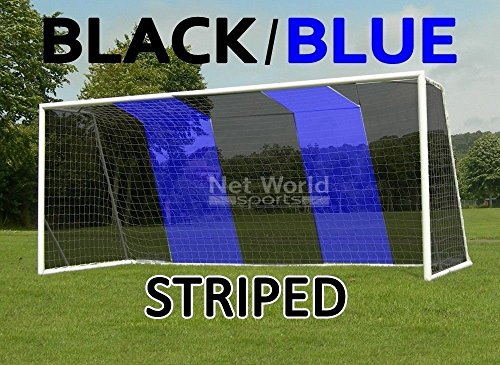 STRIPED SOCCER GOAL NET - Black/Blue - Official FULL SIZE FIFA Spec - 24x8 / 24' x 8' (Black/Blue Soccer Net (Pair of Nets))