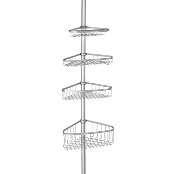 InterDesign York Constant Tension Corner Shower Caddy U2013 Bathroom Storage  Shelves For Shampoo, Conditioner,