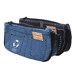 EUBUY Fashion Jeans Pattern Pencil Case Boys Girls 2 Pcs Pen Pencil Bag Cosmetic Canvas Makeup Coin Purse Pouch Bag