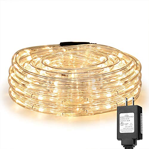 LE 33ft 240 LED Rope Light, Waterproof, Connectable, Low Voltage, Warm White, Indoor Outdoor Clear Tube Light Rope and String for Deck, Patio, Pool, Camping, Bedroom Decor, Landscape Lighting and More -
