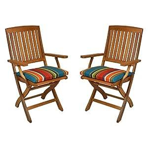 Outdoor Patio Folding Chair Cushion (Set of 2) Color: Haliwall Caribbean