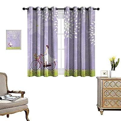 Anyangeight Cartoon Waterproof Window Curtain Girl Riding Bike Windy Weather in The Garden with Grass Artwork Blackout Draperies for Bedroom W55 x L39 Lavander Apple Green White