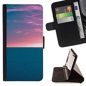For Motorola Moto E ( 1st Generation ) Case , Horizon Ocean - la tarjeta de Crédito Slots PU Funda de cuero Monedero caso cubierta de piel