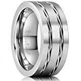 Three Keys Jewelry 8mm Titanium Wedding Ring Brushed Two Twisted Steel Ropes Chain Inlay Wedding Band Engagement Ring Silver Size 14