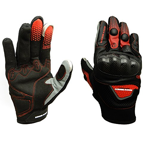 KEMIMOTO Motorbike Protective Racing Gloves Motorcycle Powersports Outdoor Sports Gloves with Touch Screen Knuckle Protection (XL,Red) (Outdoor Powersports)