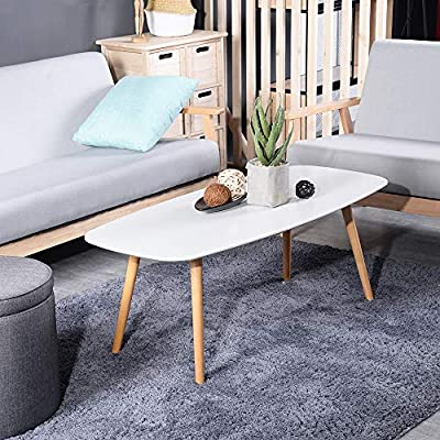 "GreenForest Coffee Table, Modern Oval Cocktail Center Table for Living Room in White, 43.3""x19.6""x17.3"" - Modern Coffee Table: white coffee table with sleek design and clean-cut lines to fit any décor style and make your home more classic-looking. Sturdy Structure: Made of high quality MDF board, wooden legs and the well-designed structure make the coffee table stable and durable. Smooth Corners and Edges: This cocktail table with smooth corner and edges, protecting you from accidental scratches. - living-room-furniture, living-room, coffee-tables - 51OV0ot3r8L. SS400  -"
