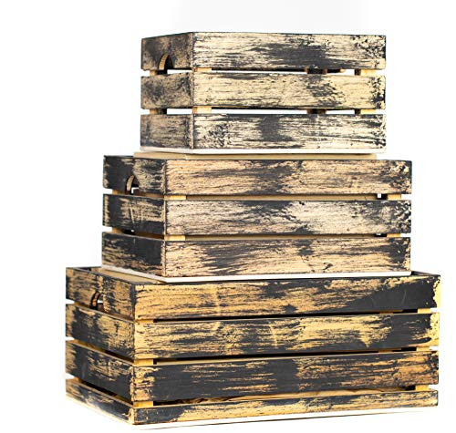Rustic Decorative Wood Crates (Set of 3) (Black and Natural Distressed)