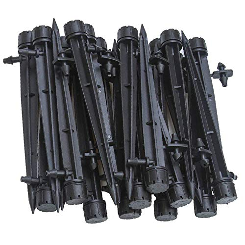 UCLEVER Adjustable Irrigation Drippers Drip Emitters Barbed Connector 4mm/7mm Tube, 360 Degree Water Flow Drip Irrigation System, Pack of 50