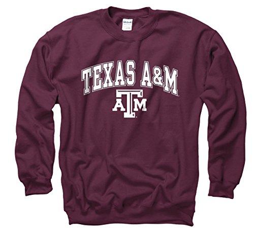 (Campus Colors Texas A&M Aggies Adult Arch & Logo Gameday Crewneck Sweatshirt - Maroon, Small)