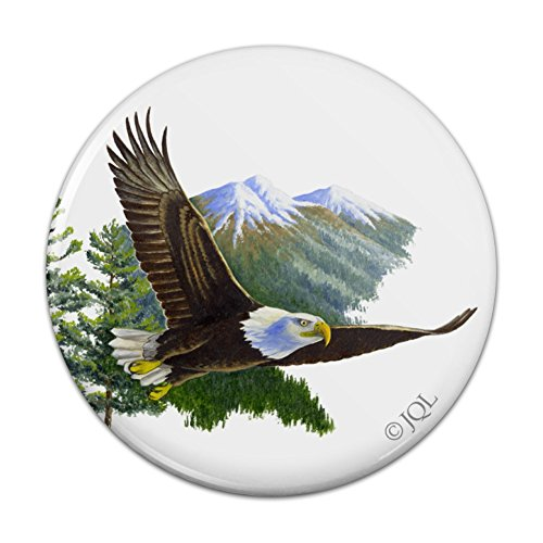 Bald Eagle Flying Over the Mountains Scenic Kitchen Refrigerator Locker Button Magnet - 2.25