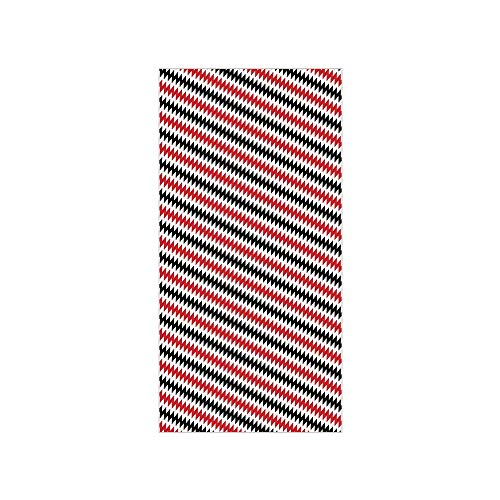 3D Decorative Film Privacy Window Film No Glue,Red and Black,Hypnotizing Vintage Zigzag Chevron Wave Seem Retro Border Like Image,Vermilion White,for Home&Office -