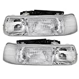 Headlights Headlamps Driver and Passenger Replacements for Chevrolet Silverado Pickup Truck Tahoe Suburban SUV 16526133 16526134