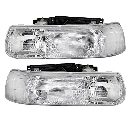 (Headlights Headlamps Driver and Passenger Replacements for Chevrolet Silverado Pickup Truck Tahoe Suburban SUV 16526133 16526134)