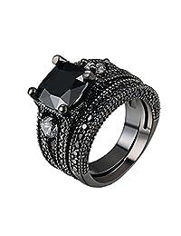 D.B.MOOD 2 PCS Cushion Cut Split Shank Black CZ Cubic Zirconia Diamond Halo Bridal Ring Set