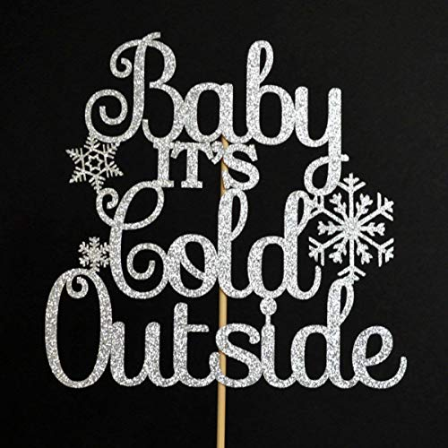 Baby It's Cold Outside Silver Glitter Paper Baby Shower Cake Topper]()