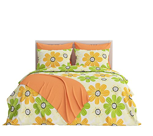 Livingston Home Turkish Collection 250 Thread Count Reversible Sheet Set, Full, Floral Yellow, 6 Piece