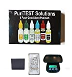 Complete Gold Testing Kit with Silver, Platinum Acids, Test Stone, Lab Scale, PLUS 5 Grains Solid Silver