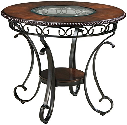 Scrolled Edge Glass Top Table - Ashley Furniture Signature Design - Glambrey Dining Room Table - Counter Height - Brown