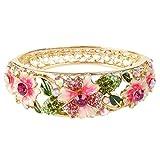EleQueen Women's Gold-tone Austrian Crystal Enamel Flower Leaf Bangle Bracelet Pink w/ Green