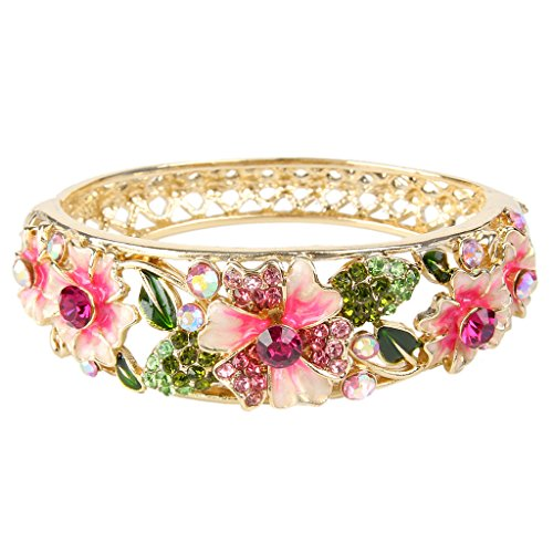 EleQueen Women's Gold-tone Austrian Crystal Enamel Flower Leaf Bangle Bracelet Pink w/ Green