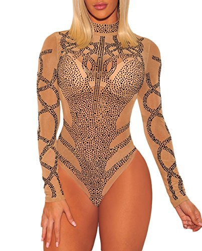 Studded Bustier - SEBOWEL Ladies Khaki Black Rhinestone Faux Bustier Mesh Long Sleeves Bodysuit Khaki S