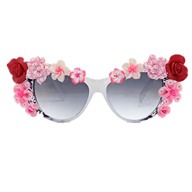 LIDESMUKG Summer Beach Lady Flower Gafas de sol Cat Eyes ...