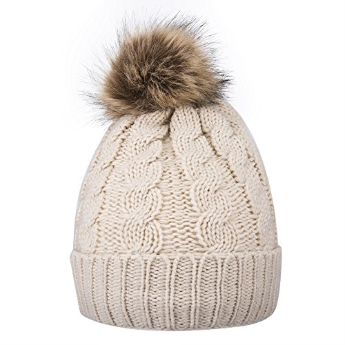Pink Womens Beanie - GRAMONI Men / Women's Knit Beanie Cap Winter warm Hand Knit Faux Fur Pompoms Beanie Hat (Single-cream)