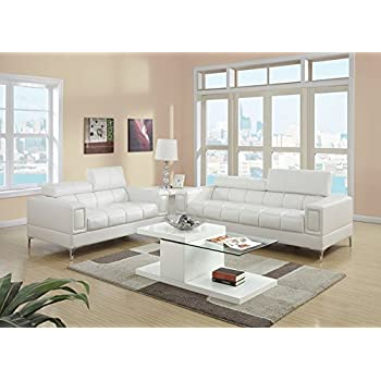 2Pcs Modern Eclectic Style White Bonded Leather Sofa And Loveseat Set For Living Room