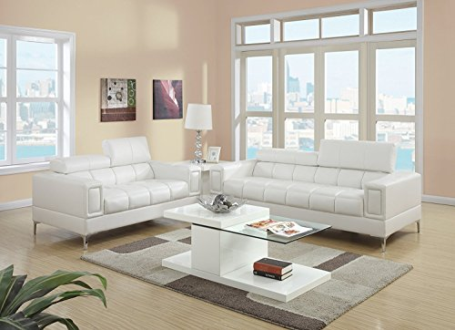 2Pcs Modern Eclectic Style White Bonded Leather Sofa and Loveseat Set for Living Room by Advanced Furniture