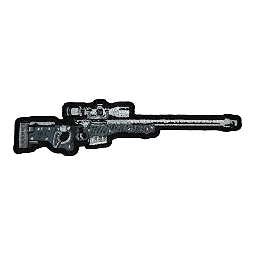 amazon com silver dark grey rifle with scope patch gun patches